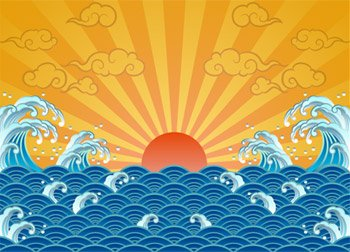 The sun, waves, clouds