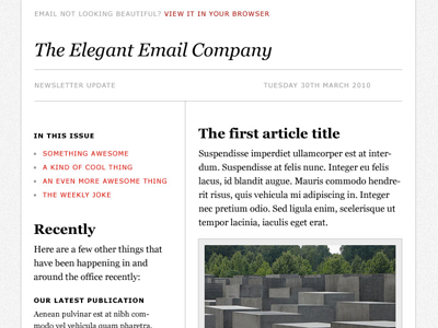'Elegant' Email Template PSD by Elliot Jay Stocks