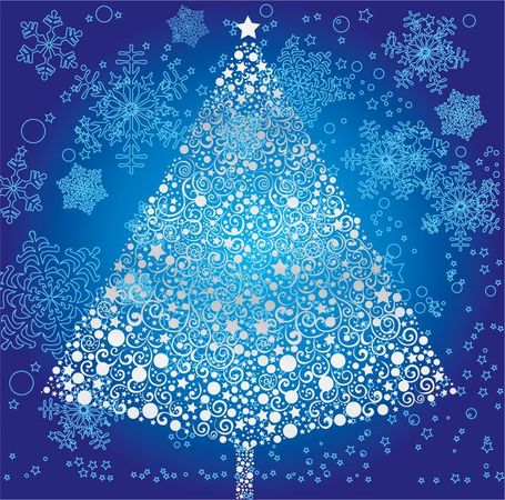 Abstract Christmas Tree with Snowflake Vector Art