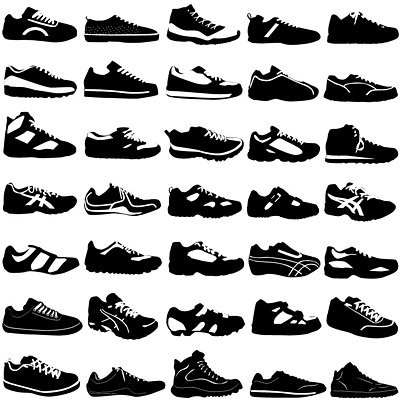 A variety of sports shoes in black and white
