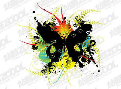 Butterfly flowers vector material ink blot