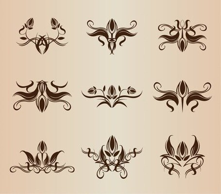 Symmetrical Floral Design Elements Vector Set