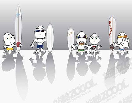 Surf cartoon characters set the