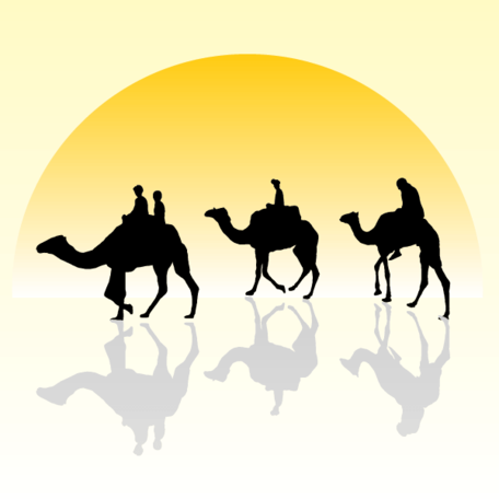 Camel Caravan Silhouette with Sunset