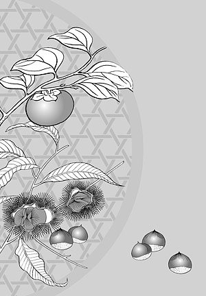 Japanese line drawing of plant material -4 Flower Vector (ch