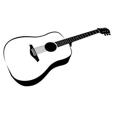 Hand Traced Black White Guitar 29120 on mercedes benz