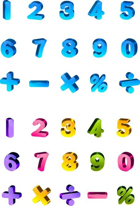 Lovely Color Threedimensional Letters And Numbers
