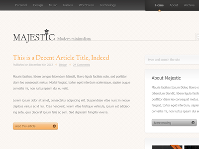 Majestueuze Blog lay-out