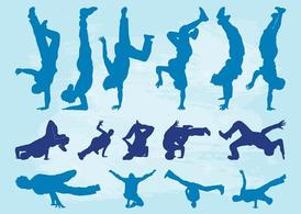 Breakdancers silhouet Set
