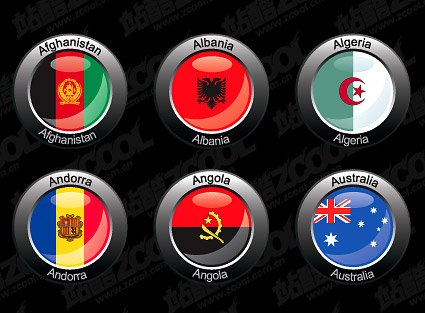 Countries round the flag vector style crystal material