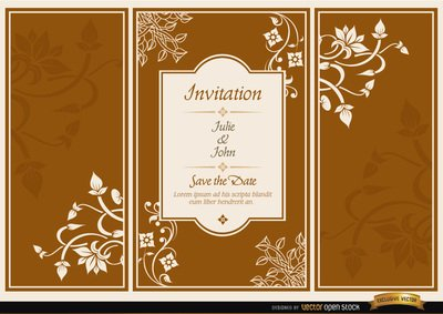 Floral triptych brochure wedding invitation