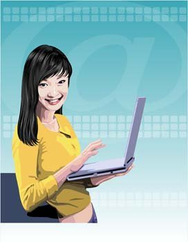 Girls and computer vector 15