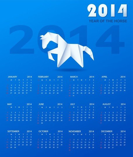 Calendar 2014 With A Paper Horse