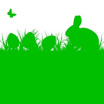 Silhouette Easter Bunny and Eggs on Grass