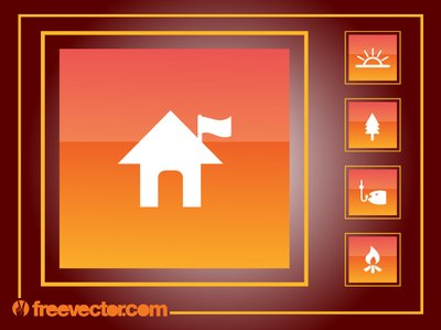 Square Orangey Camping Icon Pack
