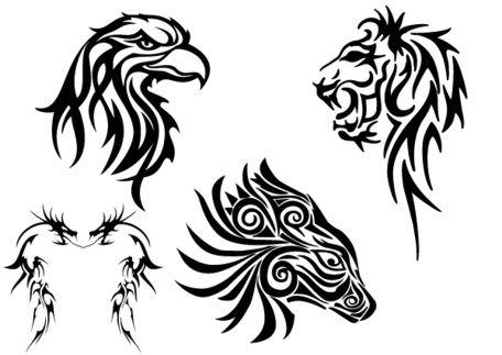 Tribal animaux Clip art libre : tête d'aigle, Lion, Dragon et cheval