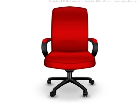 Red office chair PSD icon