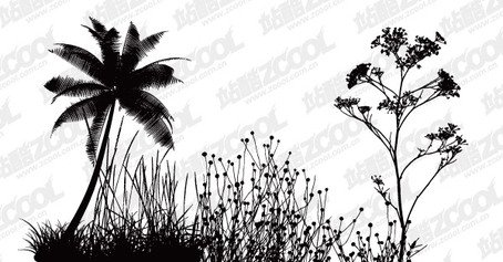 Flowers and coconut trees silhouette