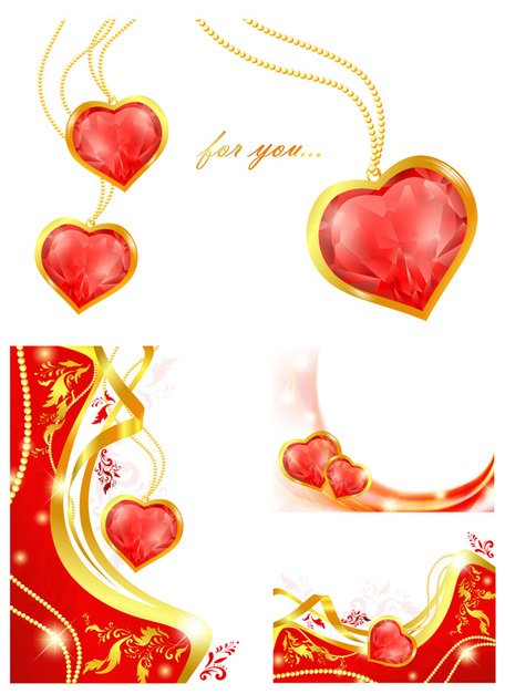 Heart-shaped Pendant Vector Valentine's Day Diamonds Precious Stones