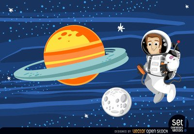 Astronaut floating in outer space, Vector Graphic - Clipart.me