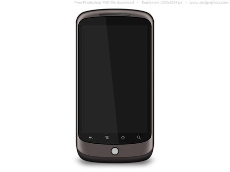 Photoshop recreation of Google Nexus One smartphone, download PSD