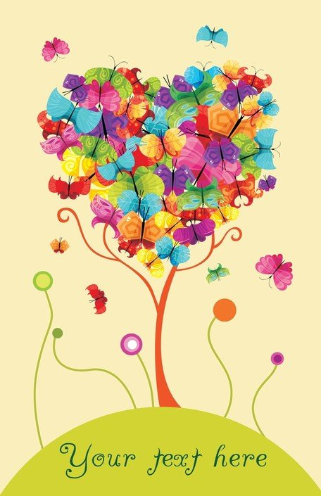 Colorful Butterflies Vector Consisting Of Trees