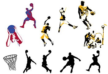 The theme of all kinds of basketball material movement vecto