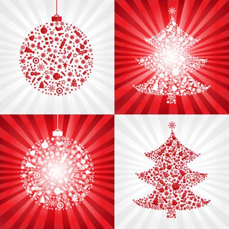 Red Christmas ball with Christmas tree