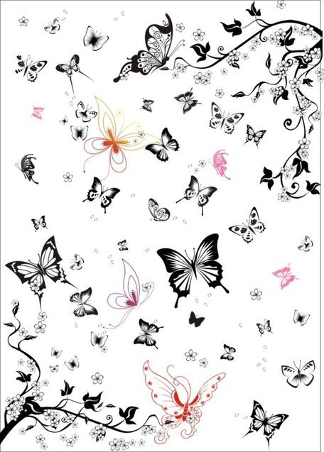 Vector set of black and white butterfly Super Multi