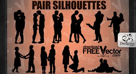 Vector Love Pair Silhouettes