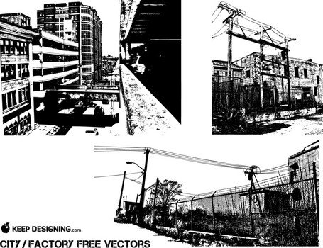 City-Old Factory Vectors