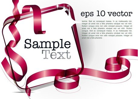 Decorative Ribbon Design Template Vector 4 Text