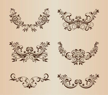 Vector Set Floral decoratieve Ornament elementen