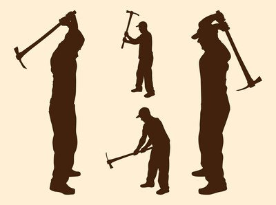 Labor Men Silhouettes with Pickaxes