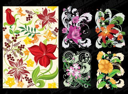 5 hand-painted flower pattern