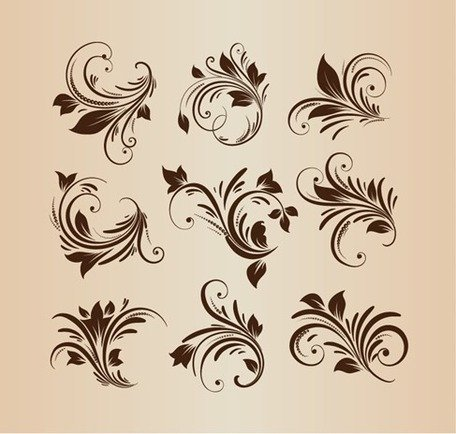 Vector Set Floral Design Elements