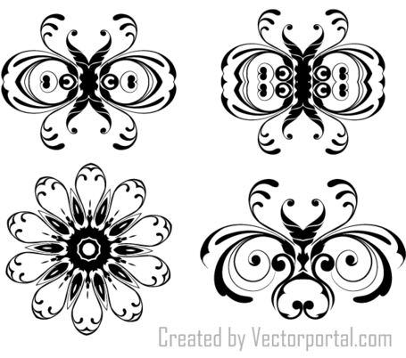 Adornos florales Vector Illustrator Pack