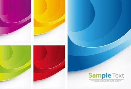 Colorful Waves Vector Background Set