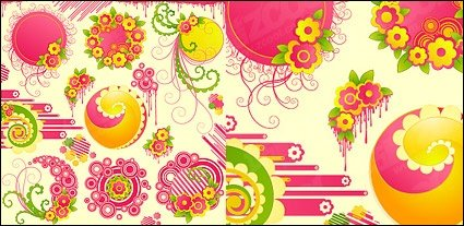 Lovely pink flowers with the trend of the vector round material