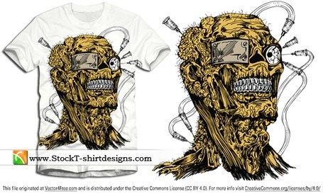 Gratis vektor Apparel T-shirt Design med Demon Man
