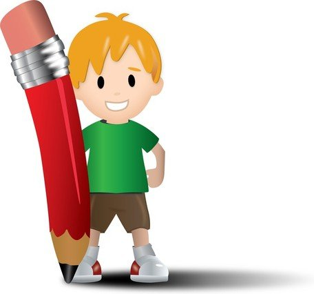 Gratis Vector Kid met potlood