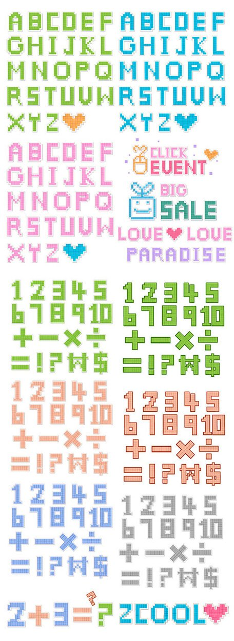 Pixel-style letters and numbers