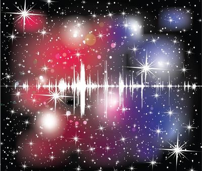 Abstract Colorful Starry Cosmos Sound Wave Background