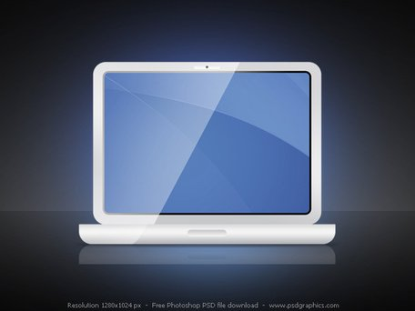 PSD white laptop icon
