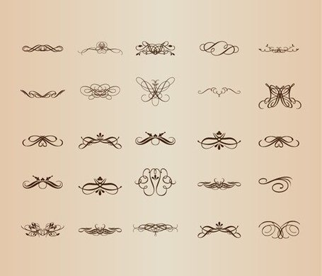 Vector Set of Vintage Decorative Patterns