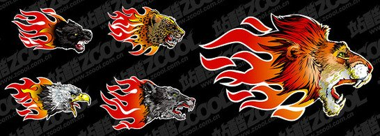 Cool flame vector animals picture material