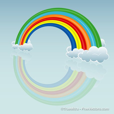Cartoon Regenbogen Wolke