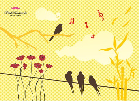 Yellow Summer Background with Birds & Flowers (Free)