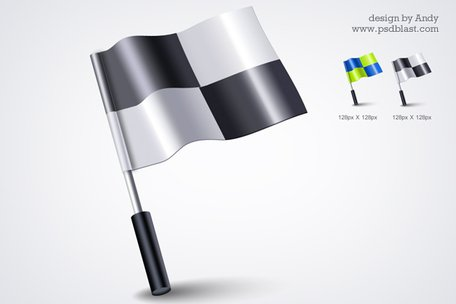 3d flag icon PSD
