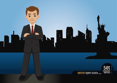 Businessman Standing on the New York Skyline